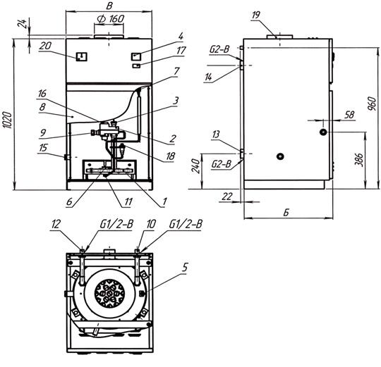 Габаритные размеры отопительного котла КОВ-20СТПВ, -25СТПВ, -31,5СТПВ, -40СТПВ, (СТ)