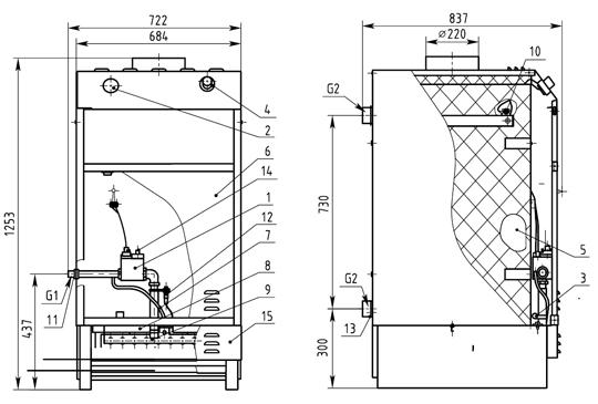 Котёл отопительный водогрейный газовый КОВ-СТ 50—100 кВт