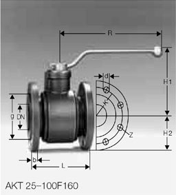 Кран газовый AKT 25-100F160