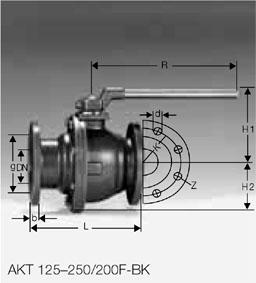 Кран газовый AKT 125-250/200F-BK