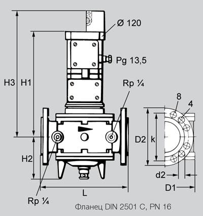 Габаритные и присоединительные размеры газового клапана VK Kromschroder