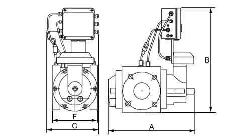 Габаритно-присоединительные размеры измерительного комплекса СГ-ЭКВЗ-Р на базе ротационного счетчика газа RVG