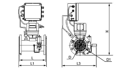 Габаритно-присоединительные размеры измерительного комплекса СГ-ЭКВЗ-Т на базе турбинного счетчика газа СГ16